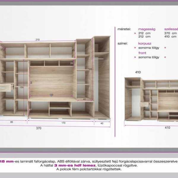 Andora 410 nappali szekrénysor méretei 1
