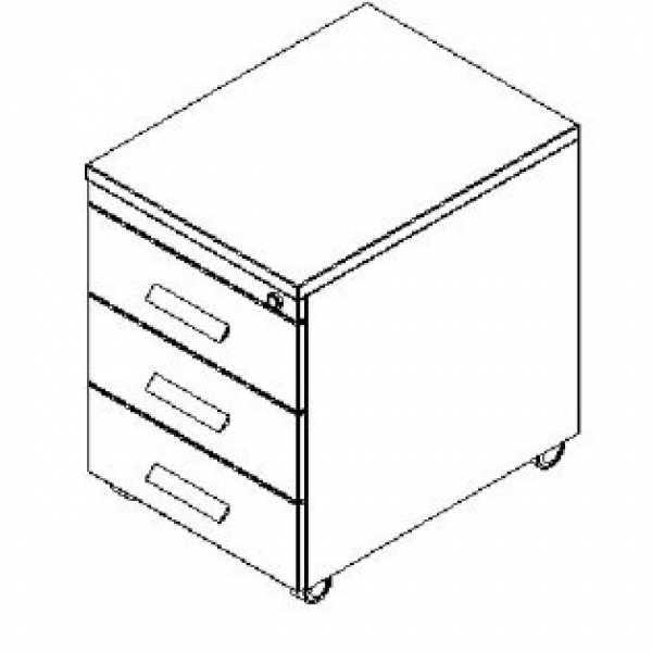Silver irodabútor-3 fiókos felső fiók zárható konténer